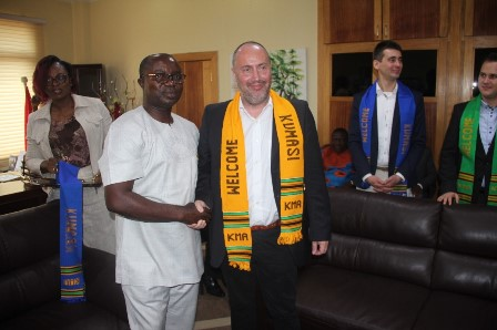 Hon. Osei Assibey Antwi decorated the Hungarian Ambassador to welcome him to Kumasi