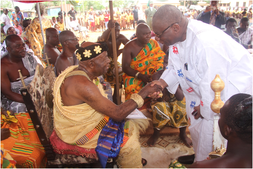 Hon. Boakye Agyarko , the Minister of Energy exchanging pleasantries with Nana Agyin Frimpong II, the Tafohene